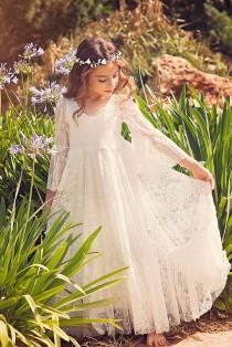 wedding photo - First Communion Dress // Flower Girl White Lace Dress // Boho-chic Girls Dress // Lace dress for girls and toddlers //Boho flower girl dress