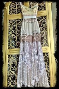 wedding photo - Ecru Ivory & Cream Lace Boho Maxi Wedding Party Dress Mermaid Miss K