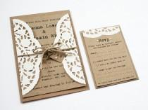 wedding photo - Doily Kraft Wedding Invitation Set - Rustic Wedding Invitation, Twine Tied Tag and Pearl Detailing