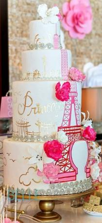 wedding photo - Pretty Parisian Theme Cake