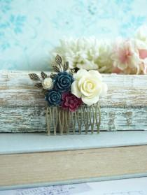 wedding photo - Bridal Comb Ivory Rose Navy Blue Leaf Comb Cranberry Maroon Unique Flower Comb Vintage Rustic Blue Ivory Wedding Burgundy Bridesmaid Gift