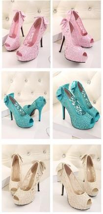 wedding photo - Sweet Bow Platform High Heels Lace Flower Wedding Shoes