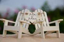 wedding photo - Personalized Cake Topper Adirondack Chairs-Beach Wedding-Cottage Wedding-Shabby Chic - Mr. & Mrs. Heart Banner Adirondack Chair Cake Toppers