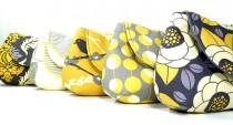 wedding photo - Gray Yellow Bridesmaids Clutches Choose Your Fabric Set of 8