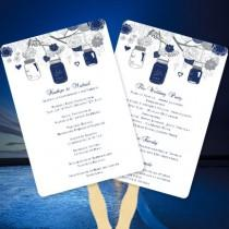 "wedding photo - Fan Wedding Programs ""Rustic Mason Jars"" Navy Blue and Gray Make Your Own Programs with Printable Word.doc Templates You Print"