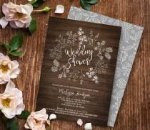 wedding photo - Wedding Shower Invitation Template, Couples Shower Printable, DIY Rustic Wood Wreath Bridal, Instant Download, Editable PDF Template #018