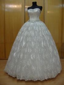 wedding photo - Princess Bridal Dress Sweetheart Neckline Ivory Satin Crystal Tulle Lace Swarovski Rhinestones Silver Beads