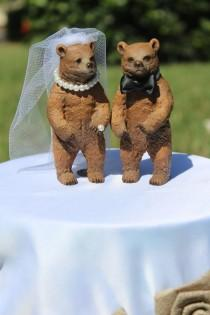 wedding photo - Bear Wedding Cake Topper - Mr & Mrs Bear - Bride and Groom - Rustic Country Chic Wedding