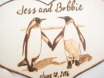 wedding photo - Winter Wedding Cake Topper Penguin Couple, Rustic wedding, Wood Anniversary Gift, Unique wedding gift, Love bird, Personalizable, PYROGRAPHY