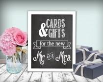 wedding photo - Cards & Gifts Wedding Sign Chalkboard Printable 8x10 PDF DIY Rustic Shabby Chic Woodland Cards And Gifts For The New Mr. and Mrs.