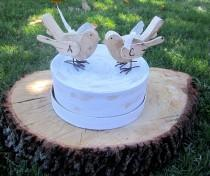 wedding photo - Personalized Two Love Birds Rustic Shabby Chic Wood  Wedding Toppers
