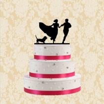 wedding photo - Wedding silhouette cake topper with dog-bride and groom cake topper-funny cake toppr with dog-unique cake topper for wedding-modern topper