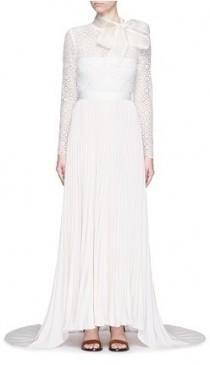 bfe396df9d12 SELF-PORTRAIT Pussybow long sleeve lace pleated wedding gown