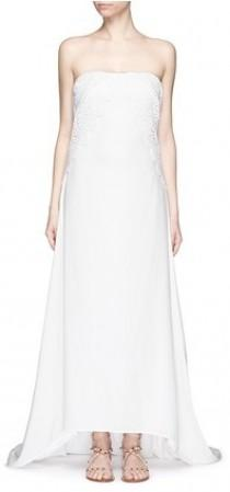 0c0c64e1cb25 SELF-PORTRAIT 'Isabella' floral guipure lace overlay strapless silk wedding  gown