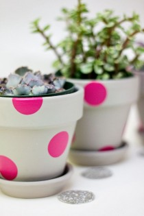 wedding photo - Easy Neon Painted Terracota Pots