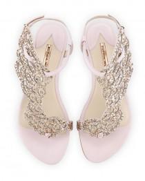 wedding photo - Seraphina Angel-Wing Flat Sandal, Pink Glitter