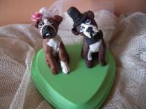 wedding photo - Custom Made Dog  Wedding Cake Toppers Bride and Groom Boxer Dogs Custom made for you can be personalized