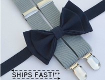 wedding photo - Navy Bow Tie & Light Grey Suspenders -- Ring Bearer Outfit -- Boys Wedding Outfit