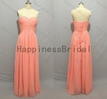 wedding photo - Coral long prom dress,long bridesmaid dress,fashion bridesmaid dresses,simple evening dress,formal evening dress,hot sales dress