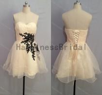 wedding photo - Party dress,short prom dress ,sweetheart organza prom dress with black applique,short evening dress,hot sales dress,formal evening dress