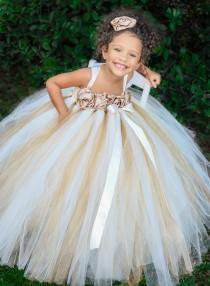 wedding photo - Ivory, Gold, Champagne Flower Girl Dress, Ivory Flower Girl Tutu Dress, Gold Tutu Dress, Tutu Dress, Girls Dress, Baby Dress