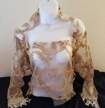 wedding photo - Taupe Faux Pearl Embroidered Beaded Lace Shrug Wrap Jacket & Top Set Bridal Wedding Evening Jacket Party Belly Dance