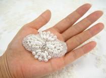 wedding photo - Wedding Pearls applique, Pearl Rhinestones applique for Bridal Sash, Bridal Applique, wedding Applique,pearl beaded,wedding garters applique