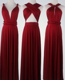 wedding photo - Wine Red Bridesmaid Dress  Infinity Dress Convertible Dress Wrap Dress Multiway Dress Prom Dress Wedding Dress Cocktail Dress Maxi Dress