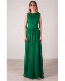 wedding photo - Chiffon Maxi Dress ,Green Evening Dress Floor Length, Bridesmaid Dress.