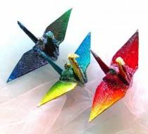 wedding photo - Rainbow Ombre Peace Crane Bird Wedding Cake Topper Party Favor Christmas Ornament Japanese Origami Paper Tokyo Paris Berlin