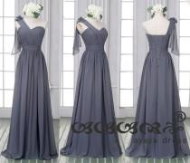 wedding photo - One Shoulder Dark Gray Prom Dress Custom Made Size Color sweetheart neckline  lace-Up Back Long Chiffon Dark Gray Bridesmaid Dress
