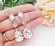 wedding photo - Wedding Jewelry Bridal Earrings Bridesmaid Earrings Dangle Earrings Swarovski Crystal and Cubic Zirconia Tear drop Earrings (E-B-0008) - New