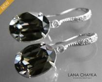 wedding photo - Silver Night Oval Crystal Earrings Swarovski Rhinestone Grey Black Earrings Deep Gray Crystal Dangle Earrings Wedding Bridesmaids Jewelry