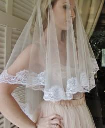 wedding photo - Fifth Element White wedding veil with Beautiful French lace edges white mantilla veil white lace veil white tulle veil