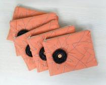 wedding photo - Bridesmaids Gift Set of 5 Linen Clutches Coral and Charcoal
