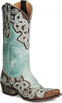 wedding photo - Old Gringo Marrione L836-1 Brass Turquoise Aqua Womens Cowboy Boots 7.5m