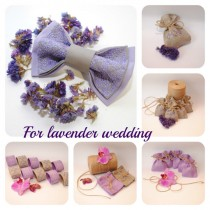 wedding photo - Embroidered set for LAVENDER wedding Set of 1(one) bow tie, 10 favor bags, 10 napkin rings Linen Grey Lilac Made to order in any colors