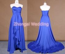 wedding photo - Sweetheart neckline evening dress,bridesmaid dress, satin chiffon dress,fine pleat body, slit skirt, cobalt dress, floor length skirt