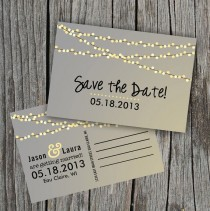 wedding photo - Save The Date Postcard - String Of Lights Rustic Wedding