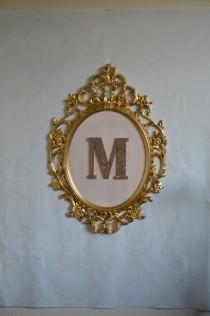 wedding photo - Large oval framed letter-Gold baroque frame, blush pink silk background and glitter letter, custom framed letter, cork board, event sign
