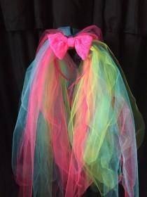 wedding photo - The Carrie- Neon bachelorette party veil, neon 80's veil, bright pink veil, bachelorette party, bright veil, neon pink bow, tulle headband