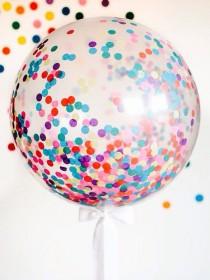 "wedding photo - Giant Confetti Balloon 36"" / Weddings / Birthday Party / Baby Shower / 3 Foot Balloon / Tassel Tail / Frill Balloon"