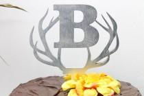 wedding photo - Custom Monogram Initial Deer Antler Wedding Cake topper.  Rustic Wood Antler Cake toppers.  Wedding Birthday Anniversary Personalized custom