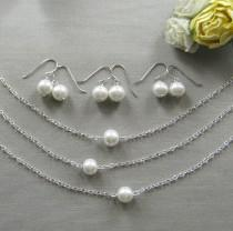 wedding photo - SET of 5 Simple chic single pearl necklace and earring SET, bridesmaids necklace, wedding jewelry - W001S (Choose your pearl colour)