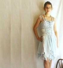 wedding photo - Junior Bridesmaid Dress Fairy Dress for Girl in Pale Blue. Mori Girl Tattered Upcycled Romantic Funky Eco Style.