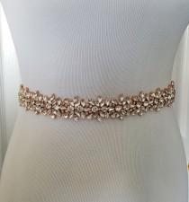 wedding photo - Rose Gold Wedding Belt, Rose Gold Bridal Belt, Gold Bridal Belt, Gold Bridal Sash Belt - Style 278