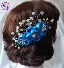 wedding photo - Bridal hair accessory , wedding tone comb Kanzashi Flower , Beautiful blue Flower . hair accessory