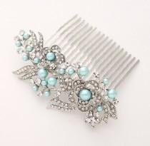 wedding photo - Aqua Blue Bridal Comb Crystal Pearl Hair Comb Ocean Blue Beach Wedding Sweet 16 Prom Hair Piece Aqua Blue Comb