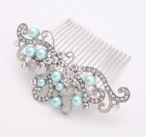 wedding photo - Crystal Pearl Ocean Aqua Blue Wedding Hair Comb Prom Bridal Bridesmaid Hairpiece beach Wedding Hair Combs Headpiece Jewelry Accessory