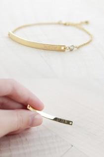 wedding photo - Bridesmaid Gift - Bridesmaid Jewelry - Bridesmaid Bracelet (Gold Bar Bracelet with CZ)